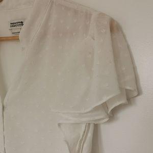 Milly Bracken White button up short sleeve dress
